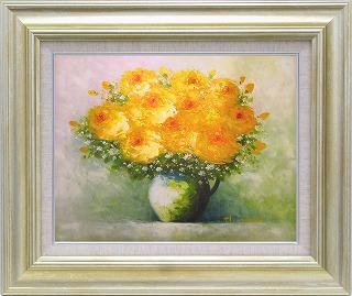 油絵 オイルペイントアート 足立 弘樹 黄色い花 F6 iop-61407 絵画 壁掛け 手書き 送料無料