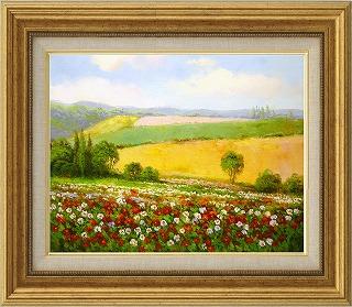 油絵 オイルペイントアート エマ 春の花畑 F6 iop-61422 絵画 壁掛け 手書き 送料無料