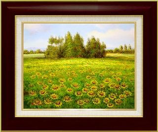 油絵 オイルペイントアート エマ サニーイエローの丘 F6 iop-61424 絵画 壁掛け 手書き 送料無料