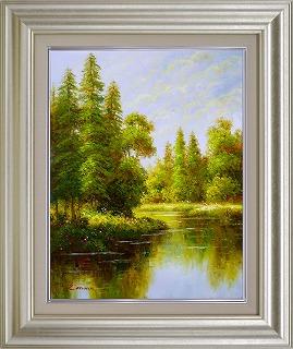 油絵 オイルペイントアート エマ 朝の湖 F6 iop-61425 絵画 壁掛け 手書き 送料無料