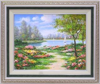 油絵 オイルペイントアート モリンガ 花畑に彩られて2 F10 iop-61435 絵画 壁掛け 手書き 送料無料