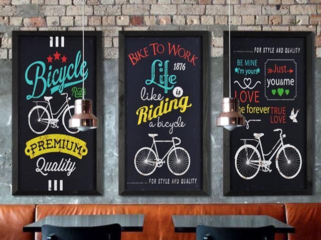 レトロ アンティーク 木製 自転車 絵画 壁掛け 版画/おしゃれ インテリア 雑貨/アートフレーム/アートパネル/自転車看板/自転車の絵/自転車柄/おしゃれ かわいい 雑貨 バイシクル 北欧 インテリア小物 店舗用 販促用