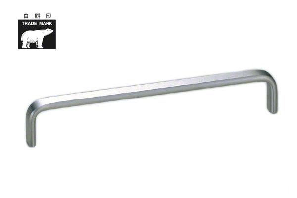 裏ビス止め式の小型、中型取手。 10本入 シロクマ HL-12 ステン小判ハンドル ヘアーライン 300mm