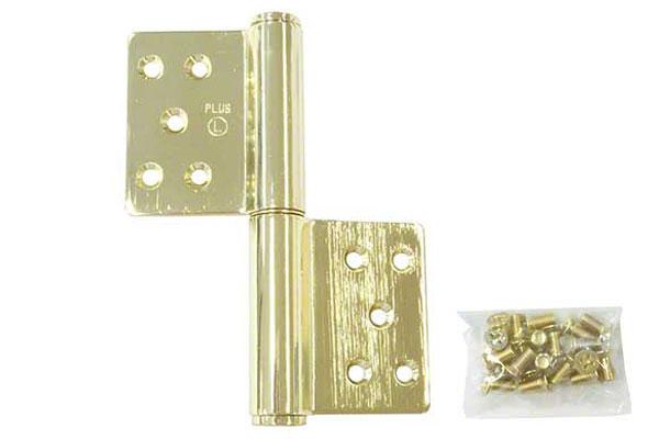 6枚入 クマモト PLUS ステンレス KJ面付旗丁番(鉄芯) 金色 3×127(左) (K-33-127 L 金色)