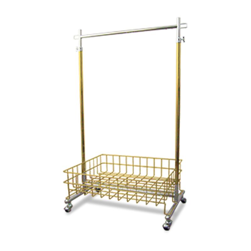 プロS600ゴールドクロームハンガーラック(ゴールドメッキバスケット付) 幅60cm 耐荷重100kg