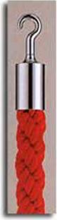 カラーロープ Aタイプ Φ25mm フック:シルバー ロープ:レッド 日本製 国産 送料無料 代引手数料無料 ガイドロープ 丸フック用 赤 黄 青 グレー 白(全5色 )120cm 取付簡単 仕切り