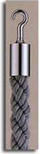 カラーロープ Aタイプ Φ25mm フック:シルバー ロープ:グレー 日本製 国産 送料無料 代引手数料無料 ガイドロープ 丸フック用 120cm 取付簡単 仕切り