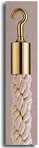 カラーロープ Aタイプ Φ25mm フック:ゴールド ロープ:ホワイト 日本製 国産 送料無料 代引手数料無料 ガイドロープ 丸フック用 120cm 取付簡単 仕切り