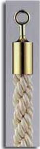 カラーロープ Bタイプ Φ25mm フック:ゴールド ロープ:ホワイト 日本製 国産 送料無料 代引手数料無料 ガイドロープ Uフック用 120cm 取付簡単 仕切り