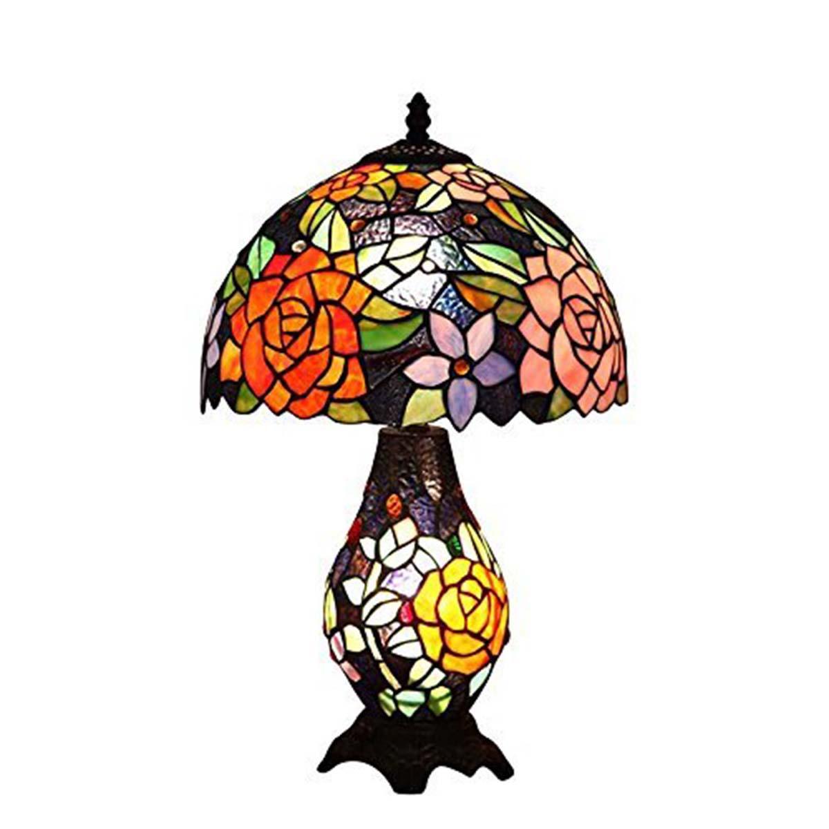 Bieye照明 ティファニーランプ 薔薇 バラ ベッドサイド ステンドグラスランプ インテリアライト 贈り物 雰囲気ランプ 卓上照明 オシャレ ロマンチック ステンドグラス照明 ステンドグラス ベッドサイドランプ 癒しグッズ 間接照明