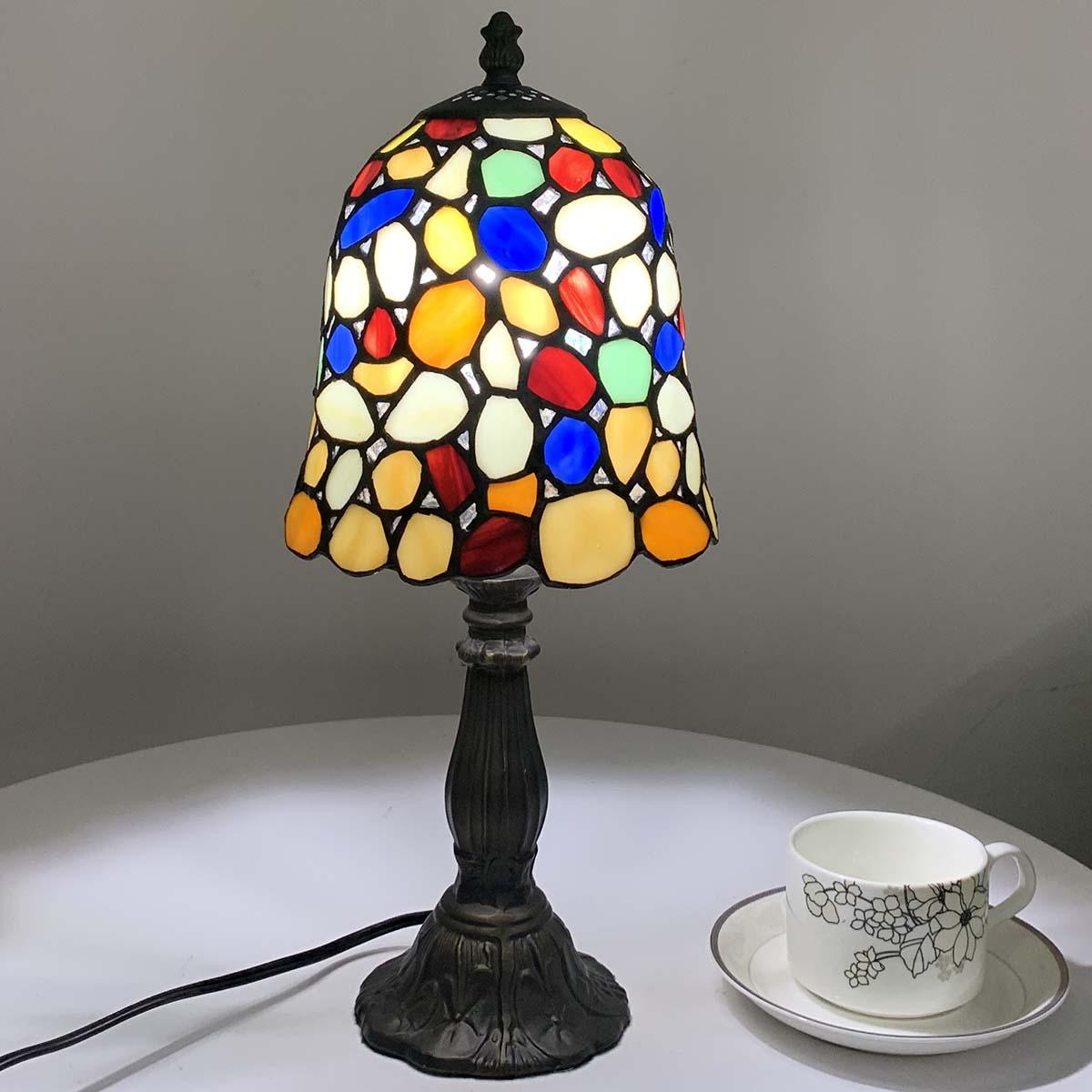 BIEYE照明 テーブルライト ティファニー風 ステンドグラスランプ ステンドランプ 合金台座 オシャレ ベッドサイドランプ 間接照明 卓上照明 デスクライト 癒しグッズ
