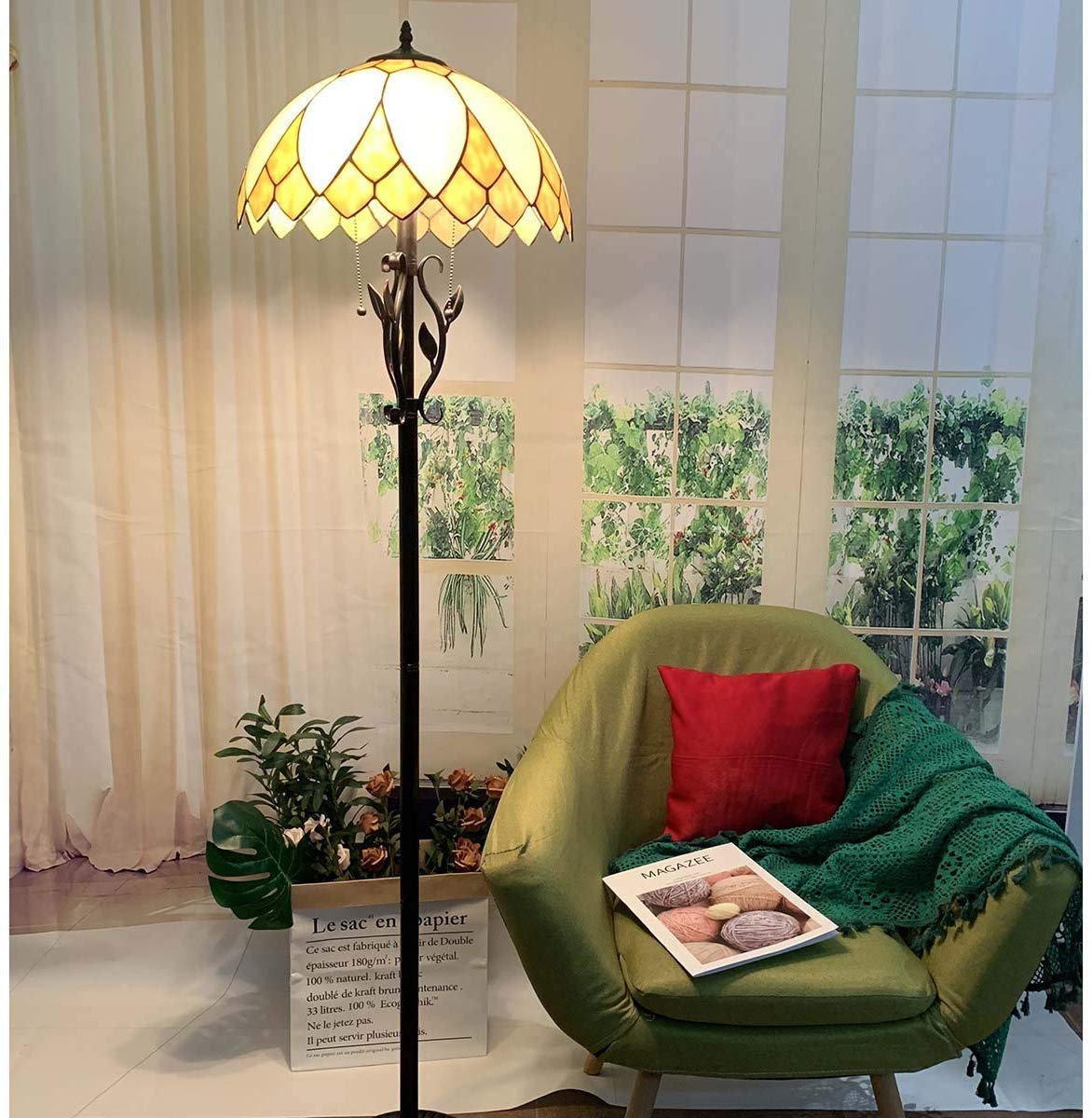 Bieye照明L10731 フロアスタンドランプ ステンドグラスランプ インテリアライト雰囲気ランプ 飾りランプ フロアスタンド フロアライト フロアランプ 癒しグッズ ロマンチック 高級ガラスランプ ティファニーランプ