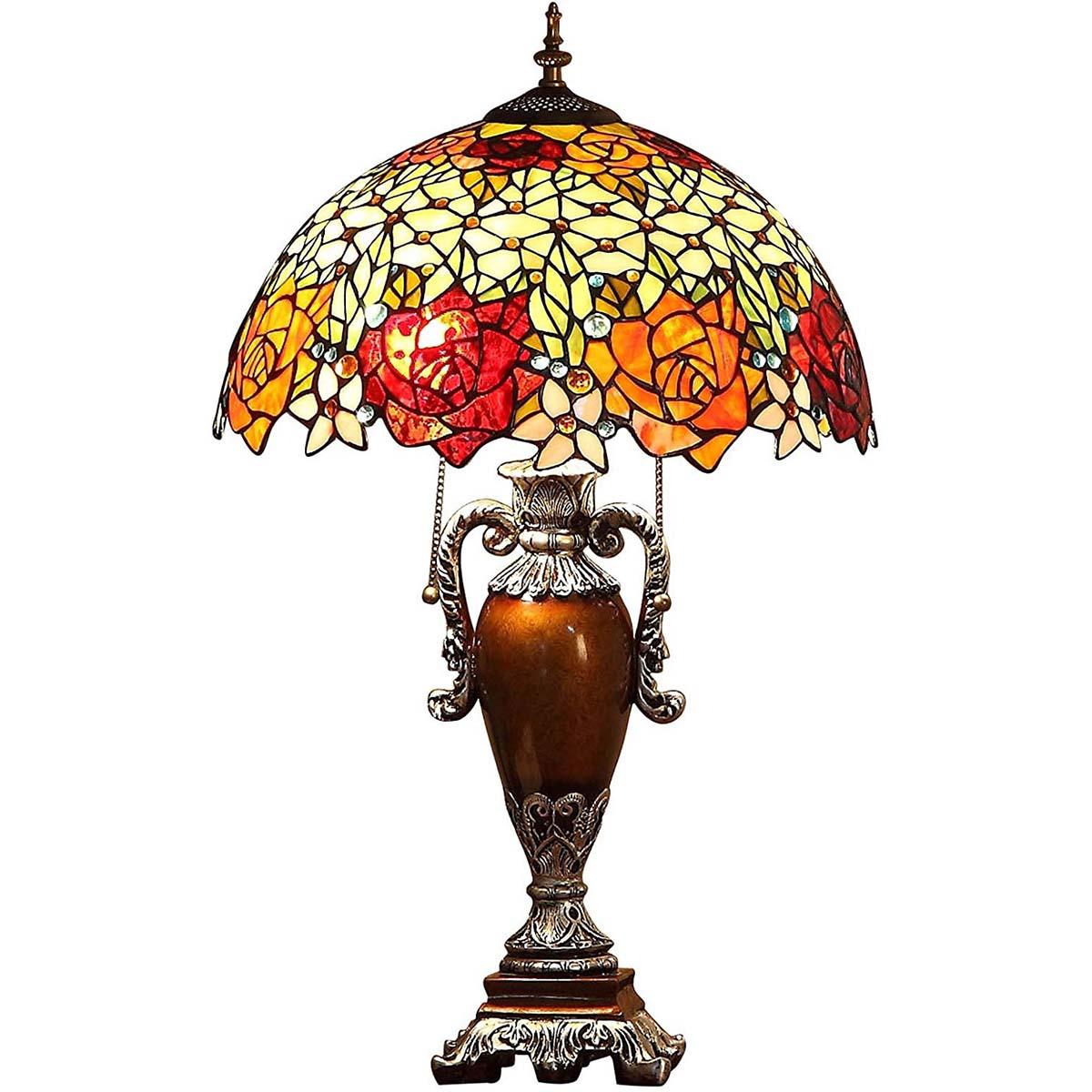 Bieye照明 ステンドグラスランプ インテリアライト 贈り物 雰囲気ランプ 卓上照明 オシャレ 薔薇 ベッドサイドランプ デスクライト 癒しグッズ ロマンチック 枕元スタンド 枕元ライト 彼女に バラ ベッドサイド ステンドグラス
