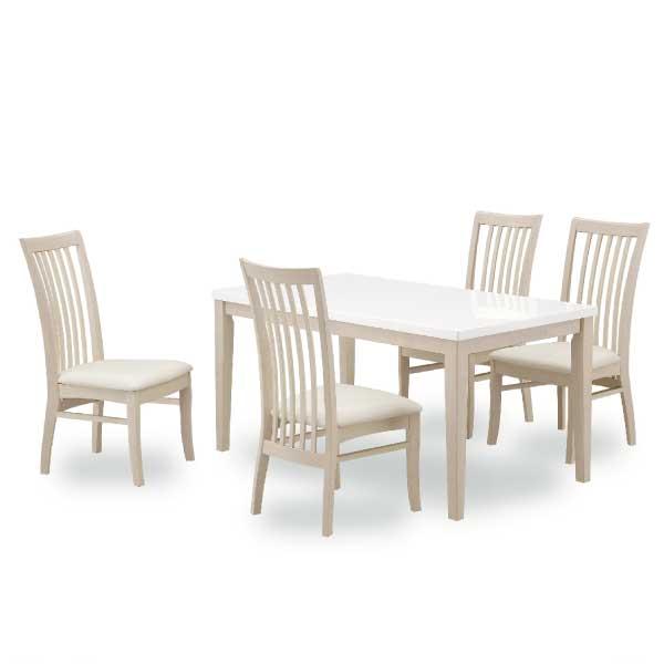 送料無料 ダイニング5点セット スペード 140センチ 2色対応 椅子4脚 ホワイト ダークブラウン モダン シンプルデザイン 食卓 チェア ハイグロス