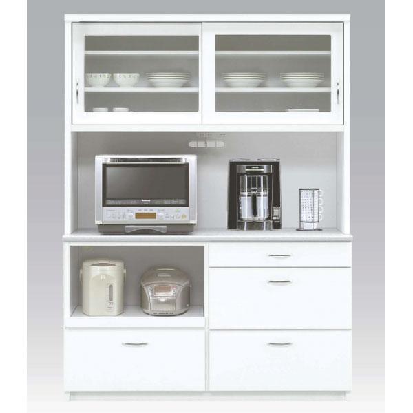 送料無料 140幅 食器棚 国産 レンジボード ジョイフル ホワイト 日本製 完成品 コンセント付き 引戸 スライドカウンター