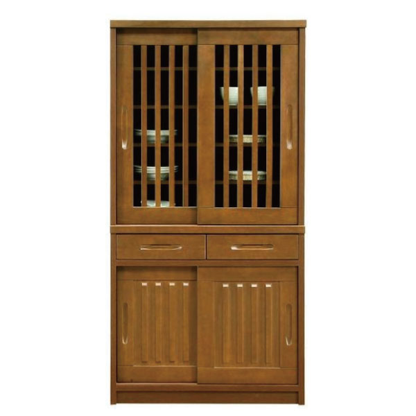 送料無料 90幅 食器棚 国産 引戸 2色 和モダンデザイン キッチンボード ブラウン ナチュラル シンプル