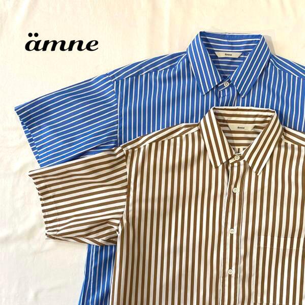 【30%OFF】メンズ/ amne 【アンヌ】 amn-SH-005 レギュラーカラー ハーフスリーブ ストライプシャツ【正規取扱】2020春夏
