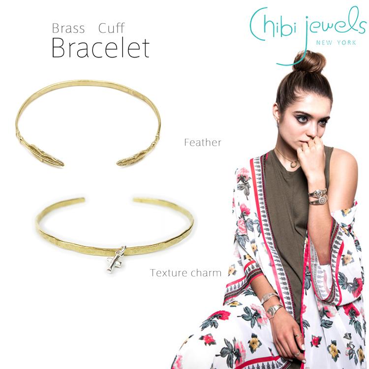 chibi jewels チビジュエルズ 羽根モチーフ シルバー C型バングル Feather Cuff 正規品 B143B