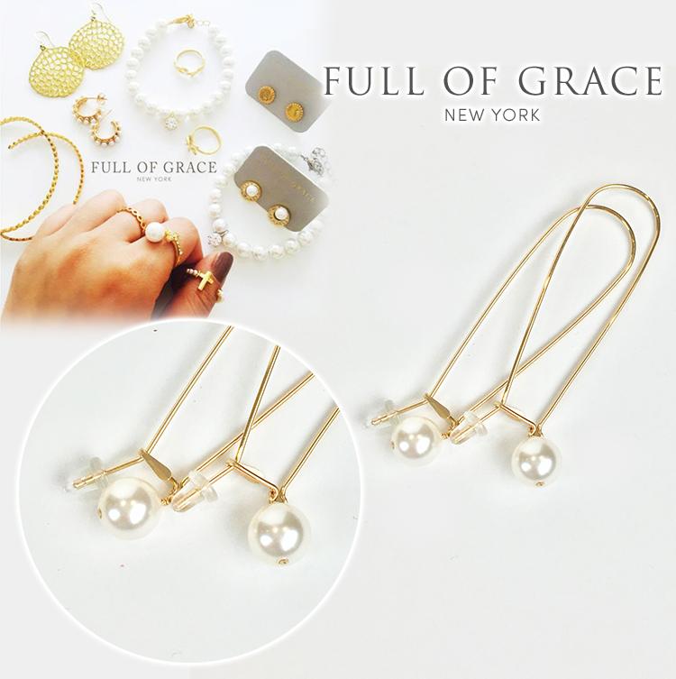 FULL OF GRACE フルオブグレース E189 スワロフスキー イヤリング ゴールド 真珠 正規品 Aube Pearl Earring E189