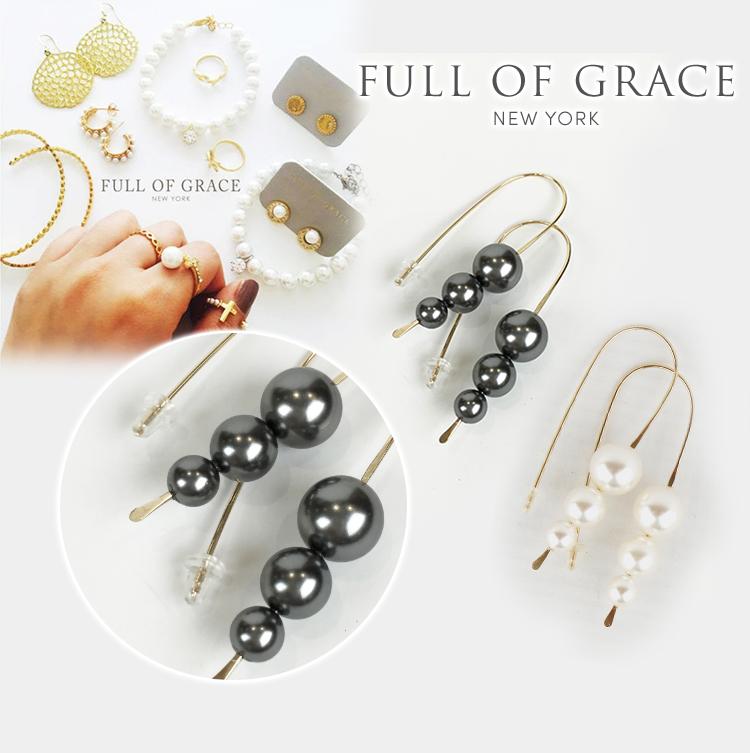 FULL OF GRACE フルオブグレース モダンコレクション パール フープ ピアス ジュエリー アクセサリー パーティー 結婚式 Modern collection Pearl Hoop Earrings 正規品 E191