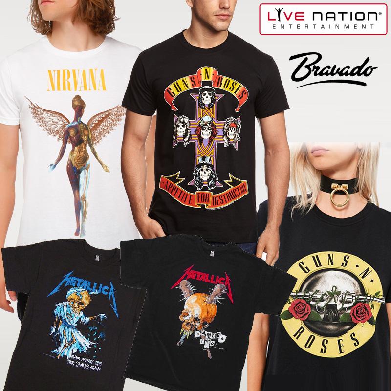 バンドTシャツ ロックTシャツ メタリカ ガンズ ニルヴァーナ ヘビメタ ユニセックス 洋楽 海外バンド METALLICA GUNS N ROSE ROCK Heavy Metal NIRVANA LIVE NATION BRAVADO-TEE
