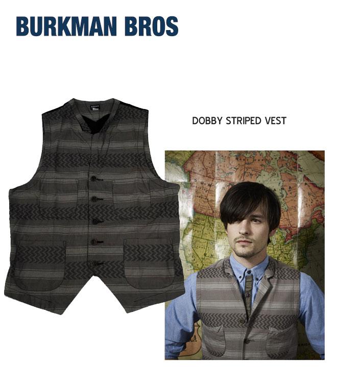【ラストワンセール!】BURKMAN BROS バークマンブラザーズDOBBY STRIPED VEST ベスト トップス メンズ BBRO-J6045B