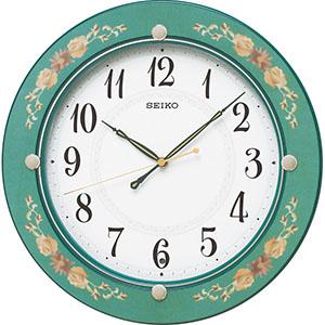 【送料無料】 セイコー 電波掛時計 緑花柄 お歳暮