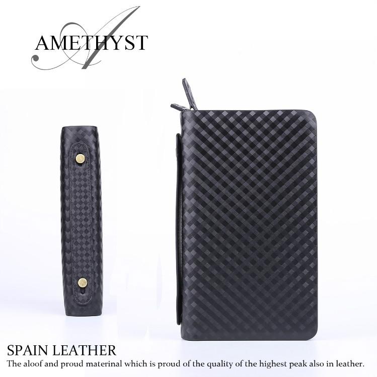 AMETHYST スペインレザー 牛革 本革 ダブルファスナー セカンドバッグ 財布機能付 紳士用 通勤 ビジネス鞄 AM-02