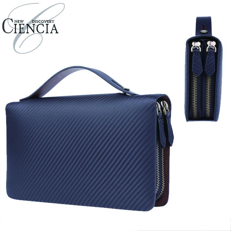 CIENCIA【シエンシア】 高級イタリアカーボンレザー セカンドバッグ 財布機能付 紳士用 通勤 ビジネス鞄 CI-I-02【ラッキーシール対応】