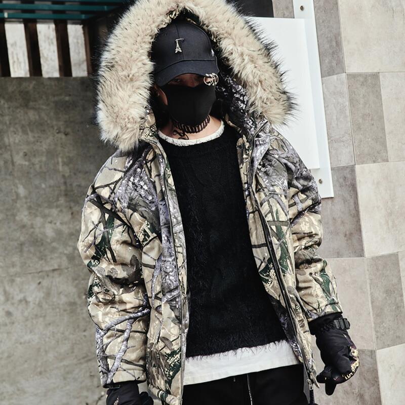 【今だけエントリーでポイント5倍】韓国 ファッション メンズ 中綿 リアルツリーカモジャケット 原宿系 韓国系メンズ ファージャケット フード メンズ メンズファッション ストリート 冬 秋 個性 衣装 モード ゆったり モードストリート 裏キルティング
