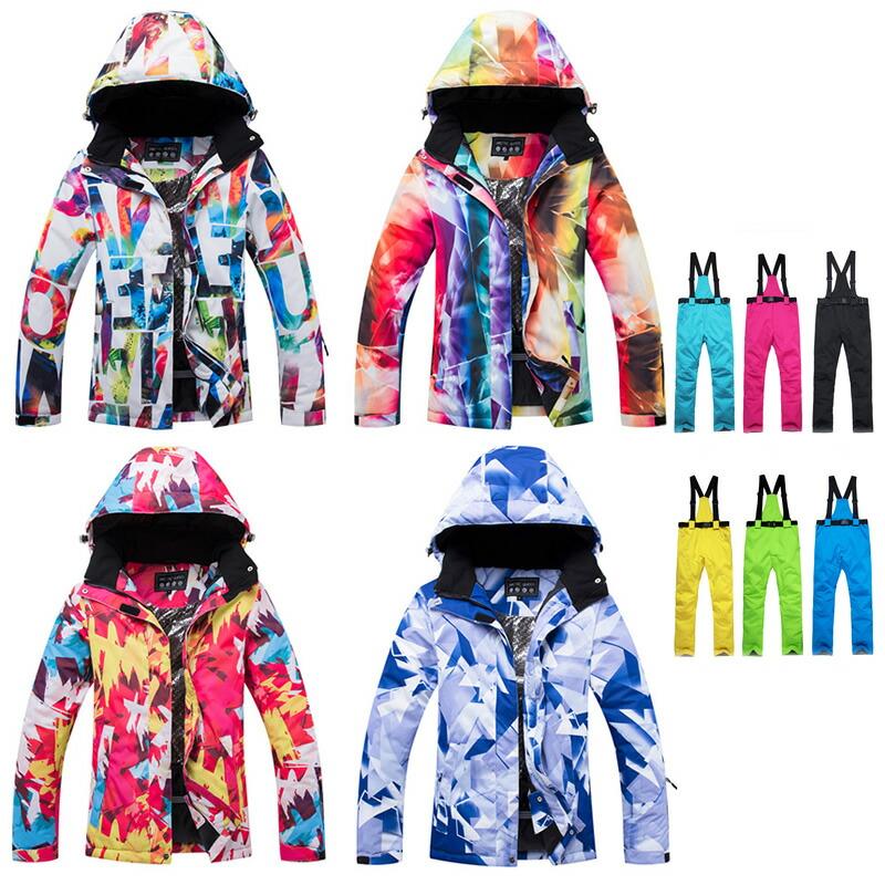 スノボウェア スキーウェア レディース 組み合わせ24通り セットアップ 上下セット スノーボード スノボー スノーシュー バックカントリー 雪遊び 柄 蛍光 婦人 ジュニアにも 防雪 防水 中綿 蒸れにくい
