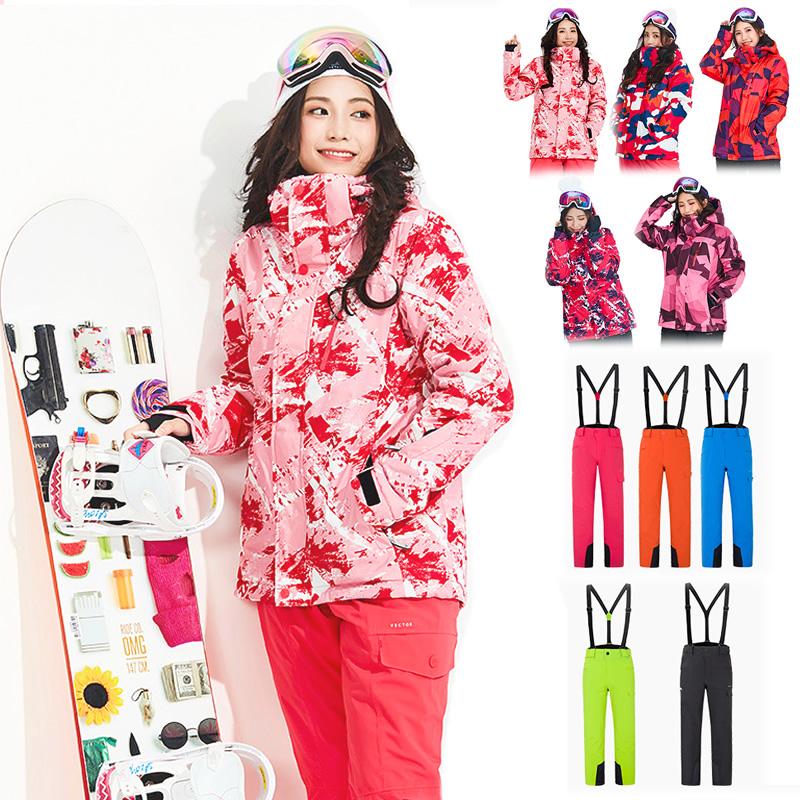 スノボウェア スキーウェア レディース 組み合わせ25通り セットアップ 上下セット スノーボード スノボー スノーシュー バックカントリー 雪遊び 柄 迷彩 カモ柄 幾何学 婦人 ジュニアにも 防雪 防水 中綿 透湿
