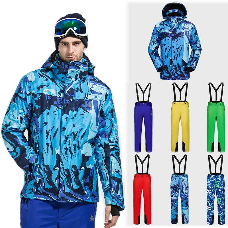 セットアップ スキーウェア メンズ スノボウェア 上下セット バックカントリー スノボー スノーシュー 防水 防雪 中綿【ラッキーシール対応】 【送料無料】総柄 雪遊び 柄 ウェーブ柄 スノーボード