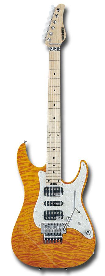 【受注生産】SCHECTER EX-V-24-CTM-FRT / AMB (4A GRADE)[シェクター][アンバー][ST Type,ストラトタイプ][エレキギター][国産,MADE IN JAPAN]