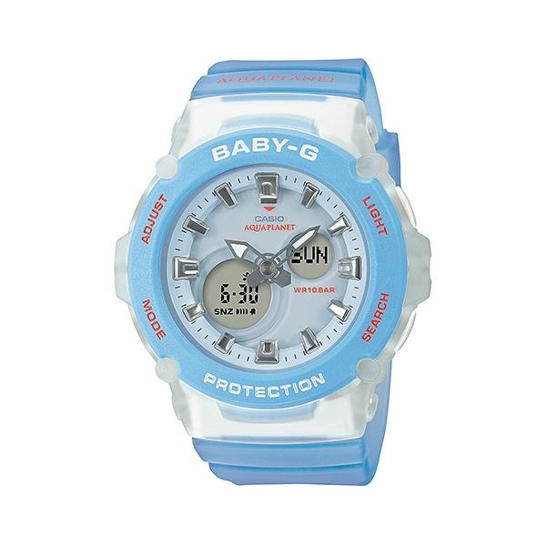 サイズ調整無料 国内正規品 CASIO 激安超特価 BABY-G カシオ ベビーG 保障 ブルー×リビングピンク レディース腕時計 アクアプラネット コラボモデル スケルトン BGA-270AQ-2AJR