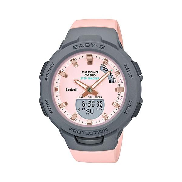 公式 サイズ調整無料 国内正規品 CASIO BABY-G カシオ ベビーG グレー モバイルリンク機能 ピンク レディース腕時計 ミスティパステルカラー 売買 BSA-B100MC-4AJF