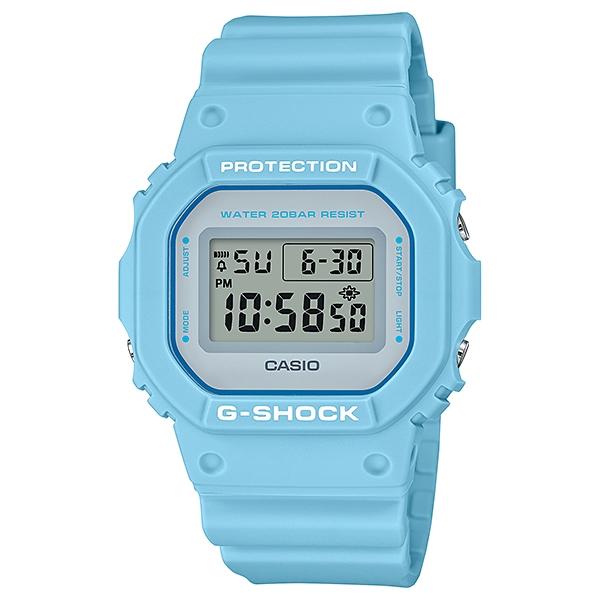 国内正規品 CASIO G-SHOCK カシオ Gショック 樹脂バンド 20気圧防水 ライトブルー ユニセックス メンズ腕時計 DW-5600SC-2JF