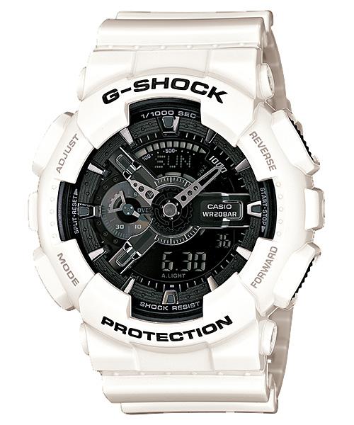 国内正規品 CASIO G-SHOCK カシオ Gショック ホワイト/ブラック メンズ腕時計 GA-110GW-7AJF