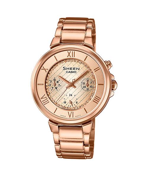 国内正規品 CASIO SHEEN カシオ シーン スワロフスキークリスタル付 レディース腕時計 SHE-3040GJ-9AJF