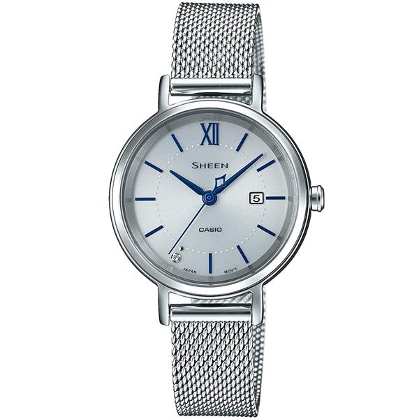 国内正規品 CASIO SHEEN カシオ シーン メッシュメタルバンド ソーラー充電 レディース腕時計 SHS-D300M-7AJF
