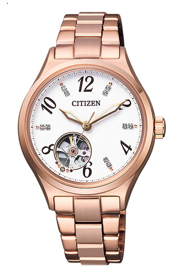 CITIZEN COLLECTION シチズンコレクション 機械式 自動巻き シースルーバック レディース腕時計 PC1002-85A