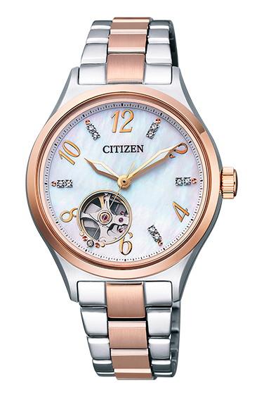 CITIZEN COLLECTION シチズンコレクション 機械式 自動巻き シースルーバック レディース腕時計 PC1006-84D