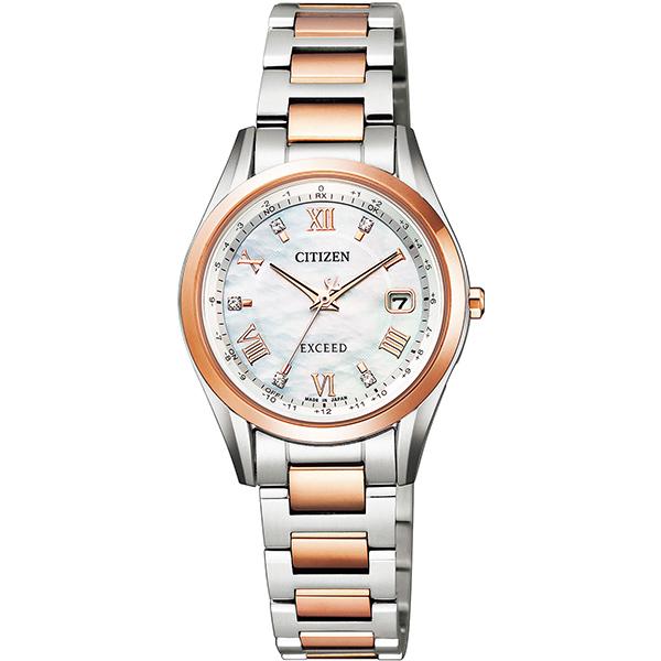 CITIZEN EXCEED シチズン エクシード ワールドタイム電波時計 ダイレクトフライト ペア限定モデル レディース腕時計 ES9374-61W