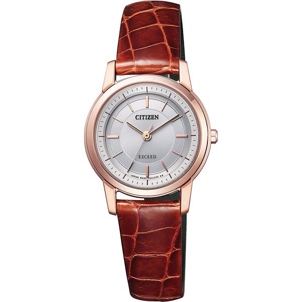 CITIZEN EXCEED シチズン エクシード エコドライブ ワニ革 ブラウン レディース腕時計 EX2072-16A
