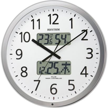 RHYTHM リズム時計 クロック 電波掛け時計 温湿度表示付 プログラムカレンダー403SR 4FN403SR19 (4FN403-019の新モデル)