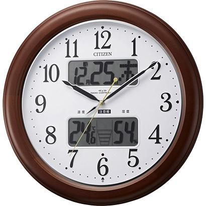 CITIZEN シチズン リズム時計 クロック 電波掛け時計 温湿度表示付 カレンダー付 夜間自動点灯ライト付 インフォームナビEX 4FY620-006