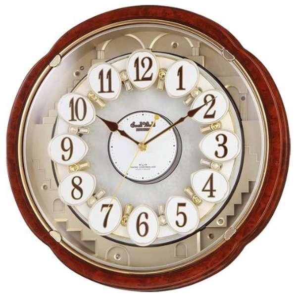 RHYTHM リズム時計 クロック 電波掛け時計 からくり時計 メロディ付 スモールワールドコンベルS 4MN480RH23