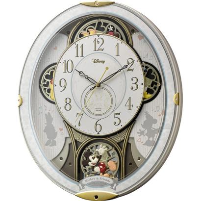 RHYTHM リズム時計 クロック Disney ディズニー 電波掛け時計 からくり時計 キャラクター時計 ミッキー&フレンズM509 4MN509MC03