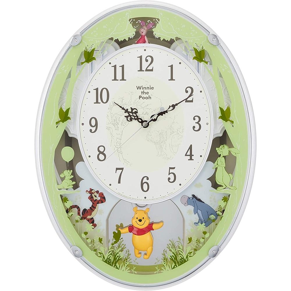 RHYTHM リズム時計 クロック 電波掛け時計 メロディ付 キャラクター時計 くまのプーさん M523 4MN523MC03