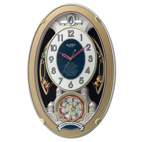 RHYTHM リズム時計 クロック 電波掛け時計 メロディ付 スモールワールドウィッシュ 4MN544RH18